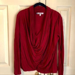 Jennifer Lopez beautiful red drape blouse. Sz S